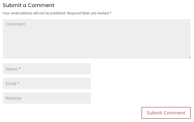 Form comment của một blog bình thường